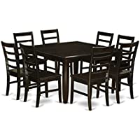 East West Furniture PARF9-CAP-W 9-Piece Kitchen Table Set