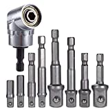 PAGOW 8Pcs Socket Adapter Impact Hex Shank Drill Bits Bar Set 1/4' 3/8' 1/2' with 1Pcs 105° 1/4' Right Angle Drill Adapter Attachment Extension Tool