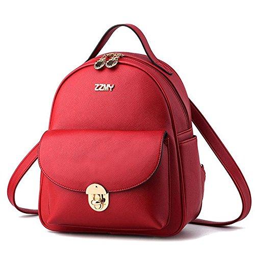 (JVP 1003-W) las señoras de cuero de LA PU anillo impermeable blanco bolsa de estilo occidental mochila liviana linda de gran capacidad viajero de la escuela mochila niñas Roja