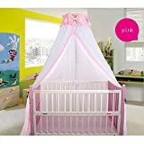 CdyBox Breathable Crib Netting Bed Curtains Canopy for Kids Mosquito Net Bedroom Decor (Pink, Mosquito net+Stand)