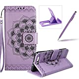 Rope Leather Case for Huawei P10 Plus,Strap Wallet Case for Huawei P10 Plus,Herzzer Bookstyle Classic Elegant Mandala Flower Pattern Stand Magnetic Smart Leather Case with Soft Inner for Huawei P10 Plus + 1 x Free Purple Cellphone Kickstand + 1 x Free Purple Stylus Pen - Purple
