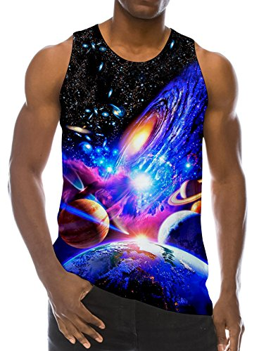 (RAISEVERN 3D Galaxy Print Funny Pattern Realistic Underwaist Gym Tank Tops for Men,Galaxy Planet,Small)