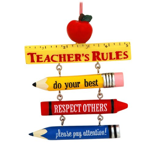 Teacher's Rules Resin Hanging Ornament