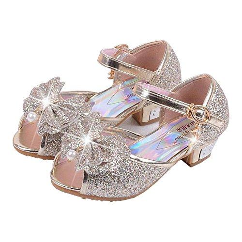 Children Princess Aisha Girls Sequin Sandals crystal High Heels Shoes (12 M US Little Kid, Gold)