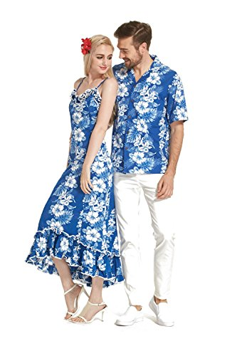 Made In Hawaii Premium Couple Matching Shirt Muumuu Dress Line Floral In White Floral In Blue 2XL-L by Hawaii Hangover