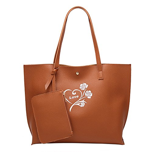 HopeEye mujer Tendencias de la moda Cuero De La Pu Mochila para mujer(gzaspunb19-3-Black) 1-marrón