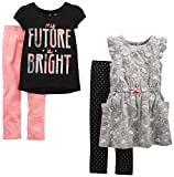 Simple Joys by Carter's Toddler Girls' 4-Piece Playwear Set, Black/Pink/Grey, 4T
