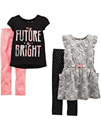 Toddler Girls' 4-Piece Short-Sleeve Dress, Top, and Pants Playwear Set