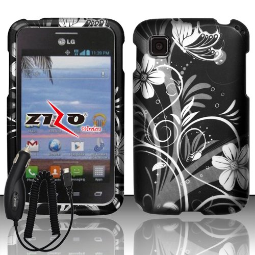 [ARENA] BLACK WHITE FLOWER VINE COVER SNAP ON HARD CASE for LG OPTIMUS DYNAMIC 2 L39C + FREE CAR (Lg Arena Mobile Phone)