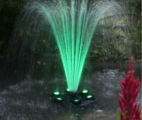 360 RGB LED Color Changing Floating Fountain Pump & Light Ring by Mico
