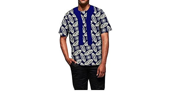 neveraway Mens Africa Blouse Tops Cotton Print Dashiki Crewneck T Shirts