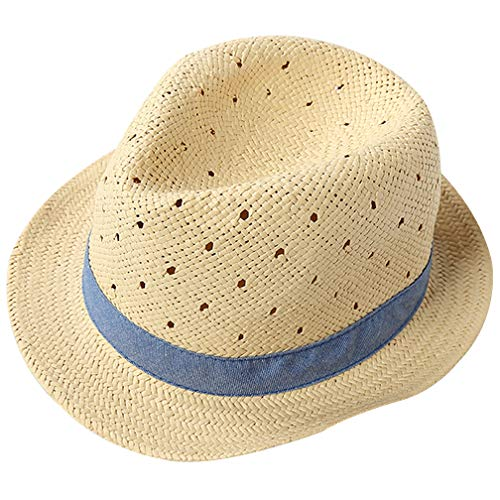 Little Kids Straw Hat Sun Beach Fedoras Hat Short Brim Panama Classic Banded Boater Cap Solid Color for Boys Blue ()