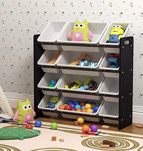 Pidoko Kids Storage Organizer with Plastic Bins - Multicolor - Wooden Childrens Storage Rack (Espresso)