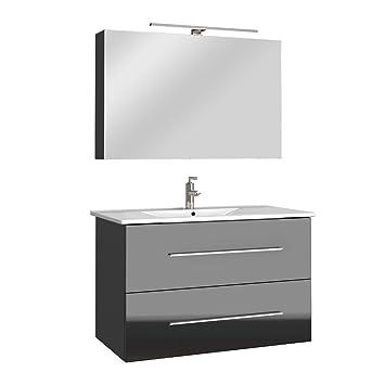 Schön Badmöbel Bad Möbel Set Hochglanz Badezimmer Spiegel Waschbecken  Unterschrank LED 60/ 90cm (Anthrazit,