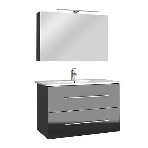 Badmöbel Bad Möbel Set Hochglanz Badezimmer Spiegel Waschbecken Unterschrank  LED 60/ 90cm (Anthrazit,