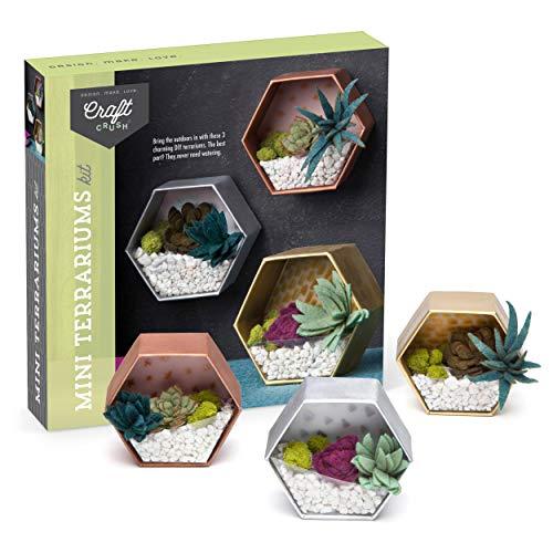 Craft Crush – Mini Terrariums Craft Kit – Make 3 Geometric Terrariums with Colorful Felt Succulents