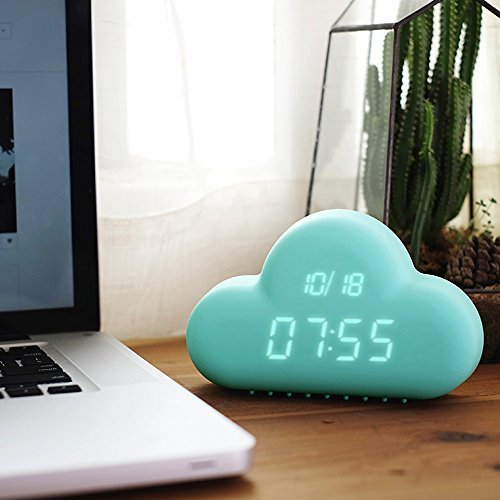 HILTOW Cute Cloud Alarm Clock,Creative Voice/Sound Control Led Clock for Students Kids Boys Girls with Time and Temperature,Rechargeable Always Display/Energy Saving Mode,Decoration Wall Clock,Blue by Hiltow (Image #2)