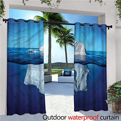 warmfamily Nature Outdoor- Free Standing Outdoor Privacy Curtain Siberia Cold Snow North Pole for Front Porch Covered Patio Gazebo Dock Beach Home W72 x L108 - Packers North Pole