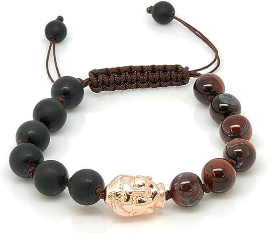Jiveli cuentas de piedras preciosas pulsera de 8 mm anudada con cuentas ajustable de macramé - se adapta a niños y adultos - para chakra, reiki, piedra de nacimiento, equilibrio energético