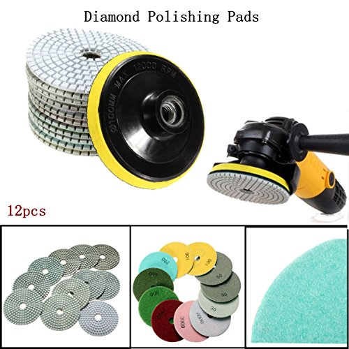 BABAN 12Pcs Mix Grit Premium Grade Dry 4''Diamond Polishing Pads Set For Wet Polisher Granite Marble Stone Polish (Granite Resin compare prices)