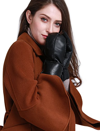 High Racer Glove - YISEVEN Women's Merino Sheepskin Shearling Mitten Leather Gloves Back Strap Design Soft Thick Furry Fur Lined Warm Heated Flip Cuffs for Winter Cold Weather Dress Driving Work Xmas Gifts, Black S/M