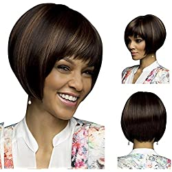 QWERT Co. WANG Short Bob Hair Wigs Straight Synthetic Heat Resistant Full Hair Wig For Women (Mixed Brown)