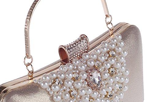 Bolsa Kervinfendriyun Oro Noche Portátil Mano La Bolsa Fiesta De Por Cartera color De Perlas Cóctel Negro Mujer De La De Diamante De qrxqpFw18