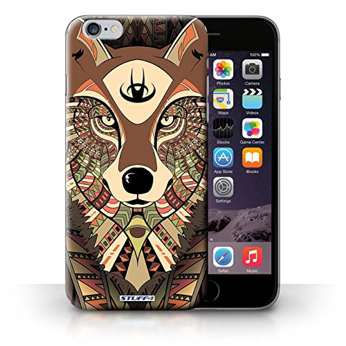 Hülle Case für iPhone 6+/Plus 5.5 / Wolf-Sepia Entwurf / Aztec Tier Muster Collection