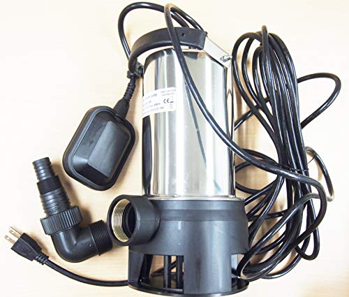 (Submersible Water Pump Stainless Steel 1HP 10000 L/H Trash Clean Water Flooding Pool)