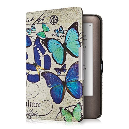 kwmobile Case for Tolino Shine - Book Style PU Leather Protective e-Reader Cover Folio Case - Blue/Mint/Beige