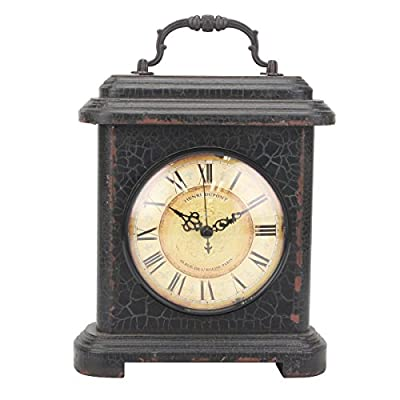 Stonebriar Rustic Industrial Metal and Wood Table Top Clock with Handle, Vintage Antique Home Decor Accents for The Mantel, Shelf, or Any Table Top, Battery Operated - This unique clock measures 11.1 inches in height and 8.1 inches in width and is the perfect size for the kitchen, living room, bathroom, or bedroom Rustic clock features a vintage round clock face with distressed Roman numerals on a worn graphite stand with an antique handle for an industrial feel Stonebriar's rustic table top clock is the perfect gift for Christmas, birthdays, housewarmings, weddings, or any special occasion - clocks, bedroom-decor, bedroom - 51jWIangcKL. SS400  -