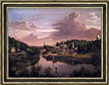 "John Denison Crocker View of Norwich Harbor in 1849 - 18.1"" x 24.1"" Framed Premium Canvas Print"