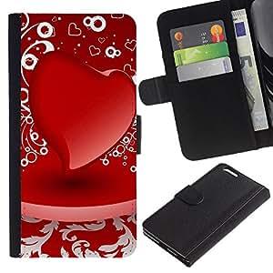 Ihec-Tech / Flip PU Cuero Cover Case para Apple Iphone 6 PLUS 5.5 - D red heart