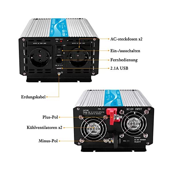 51jWIvnhywL CARRYBATT 1000W kfz Spannungswandler Wechselrichter Reiner Sinus 12V auf 230V-inkl.5 Meter Fernsteuerung-2-EU-AC…