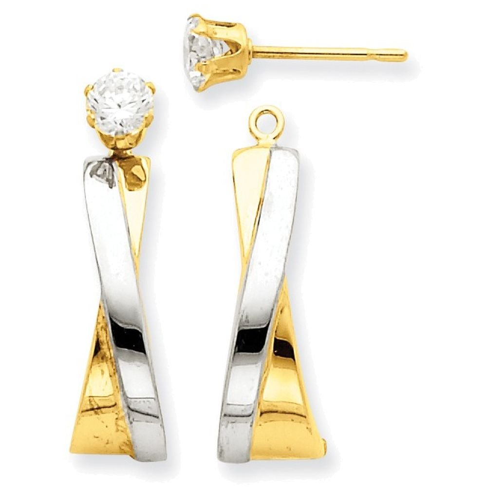 14k Yellow Gold and Rhodium J-hoop with CZ Stud Earring Jackets