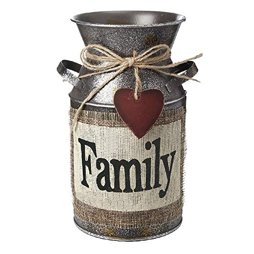 "HIDERLYS 7.5"" High Rustic Decorative Vase with Greetings and Rope Design, Metal Milk Can Country Jug for Living Room, Bedroom, Kitchen(Family)"