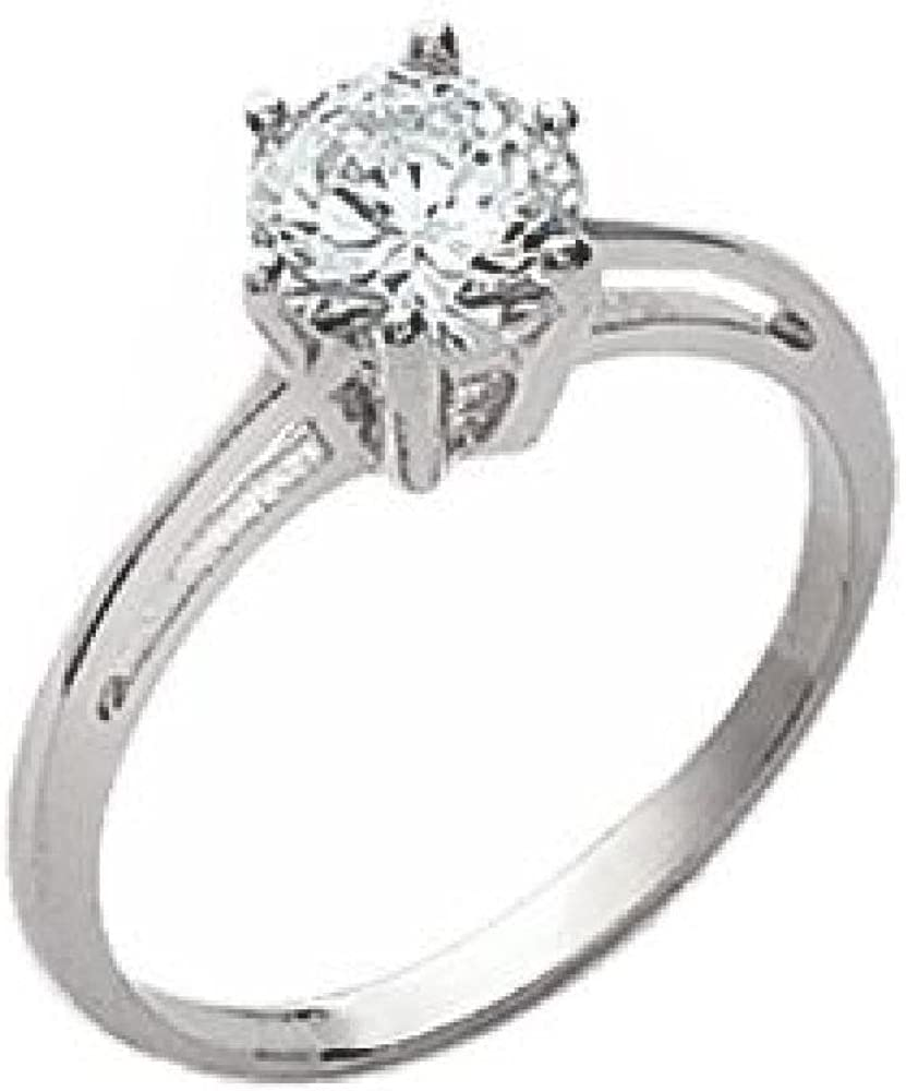 18k Gold Plated Clear Cubic Zirconia 10 mm Solitaire Band Engagement Ring So Chic Jewels