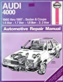 Haynes Audi 4000 Owners Workshop Manual, 1980-1987; coupe 1.6, 1.7, 1.8, 2.2 Liter