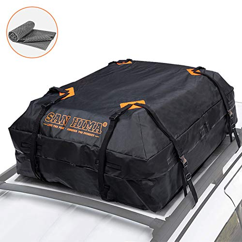 Rooftop Cargo Bag - (15 Cubic Feet) Heavy Duty Roof Bag - 100% Waterproof Excellent Quality Car Top Carrier Bag Fits All Cars with/Without Rack - Roof Top Car Bag, 1 Year Warranty