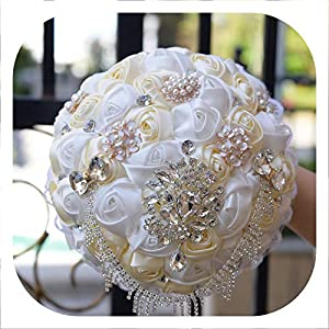 mamamoo Gorgeous Wedding Bouquet Brooch Bridal Bouquet Ivory Artificial Rose Flower Bride Bouquets Wedding Accessories,Color 9 90