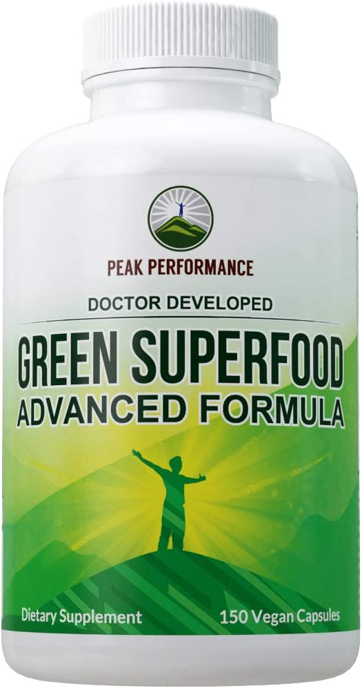 Super Greens 150 Capsules - Green Juice Superfood Supplement with 25 All Natural Amazing Ingredients. Max Energy and Detox Super Food Pills with Spirulina, Spinach, Kale, Turmeric, Probiotics