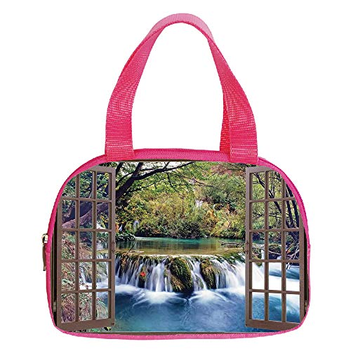 Personalized Customization Small Handbag Pink,House Decor,Wide Waterfall Deep down in the Forest Seen from A City Window Epic Surreal Decorative Print,Multi,for Girls,Personalized Design.6.3