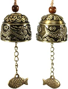 dream_light 2PCS Chinese Traditional Feng Shui Wind Chime,Vintage Style Fish Feng Shui Bell for Good Luck Peace Happiness, Fortune Prosperity,Home Garden Hanging Decorative Gift.