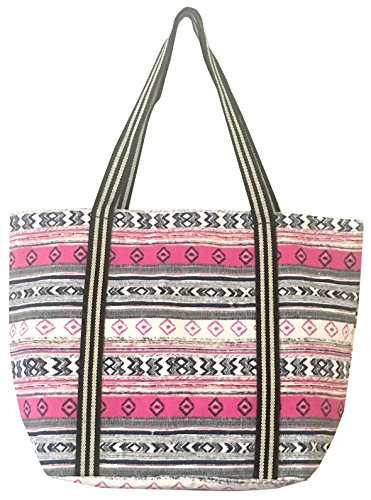 Large Utility Canvas and Nylon Travel Tote Bag For Women and Girls 15030 (B.PINK) by YJ Collection