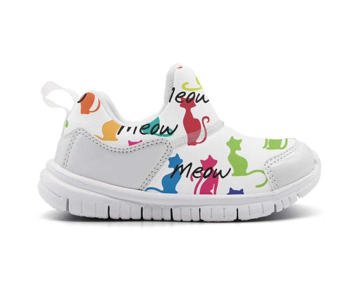ONEYUAN Children Meow Rainbow Cat Print Kid Casual Lightweight Sport Shoes Sneakers Running Shoes