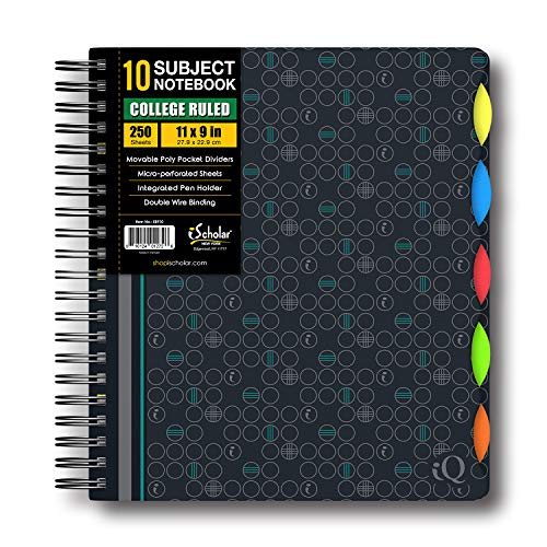 iScholar IQ Poly Cover 10 Subject Notebook, Double Wired, 11 x 8.5 Inches, 250 Sheets, Assorted Dark Cover Designs, Design Will Vary (58910)