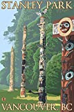 Vancouver, Canada - Stanley Park Totems (9x12 Art Print, Wall Decor Travel Poster)