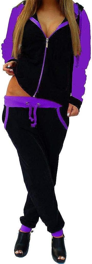 FRAUIT Tuta Donna Invernale Sportiva Pantaloni Tuta Ragazze Cotone Leggero Felpe Cappuccio Ragazza Tumblr Sweatshirt Felpe con Zip Sottile con Cappuccio Pantaloni Palestra Vita Alta Giacche