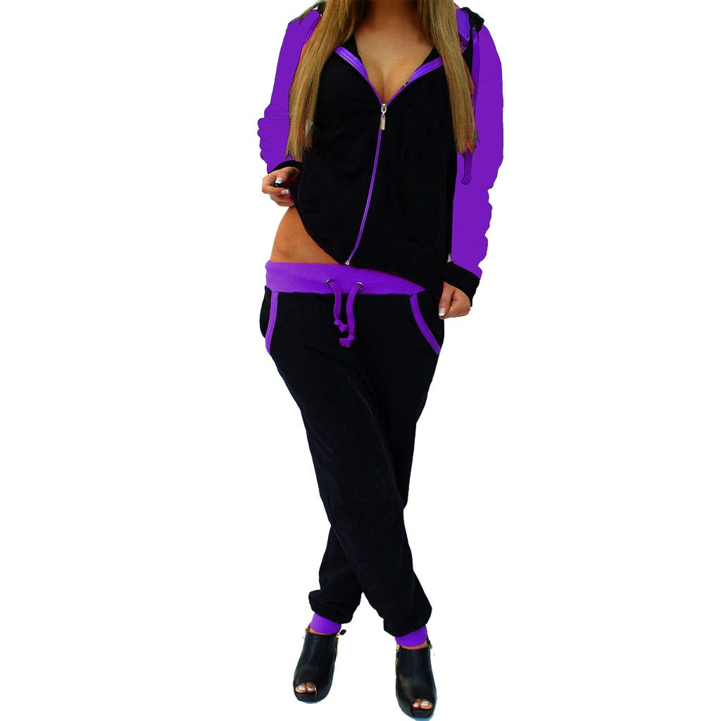 Womens Tracksuit Sets Color Block Full Zip Hoodie and Long Pant 2 Piece Casual Outfits Sweatsuit Sportswear