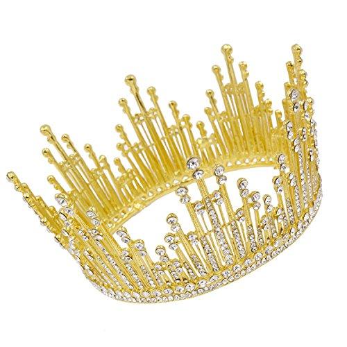 CamingHG Rhinestones Queen Tiara Crown Party Headdress Wedding Bridal Head Pieces (Gold)